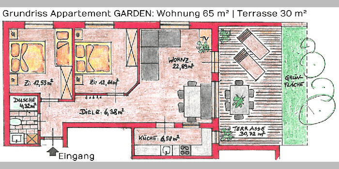 Appartement GARDEN in Pfelders